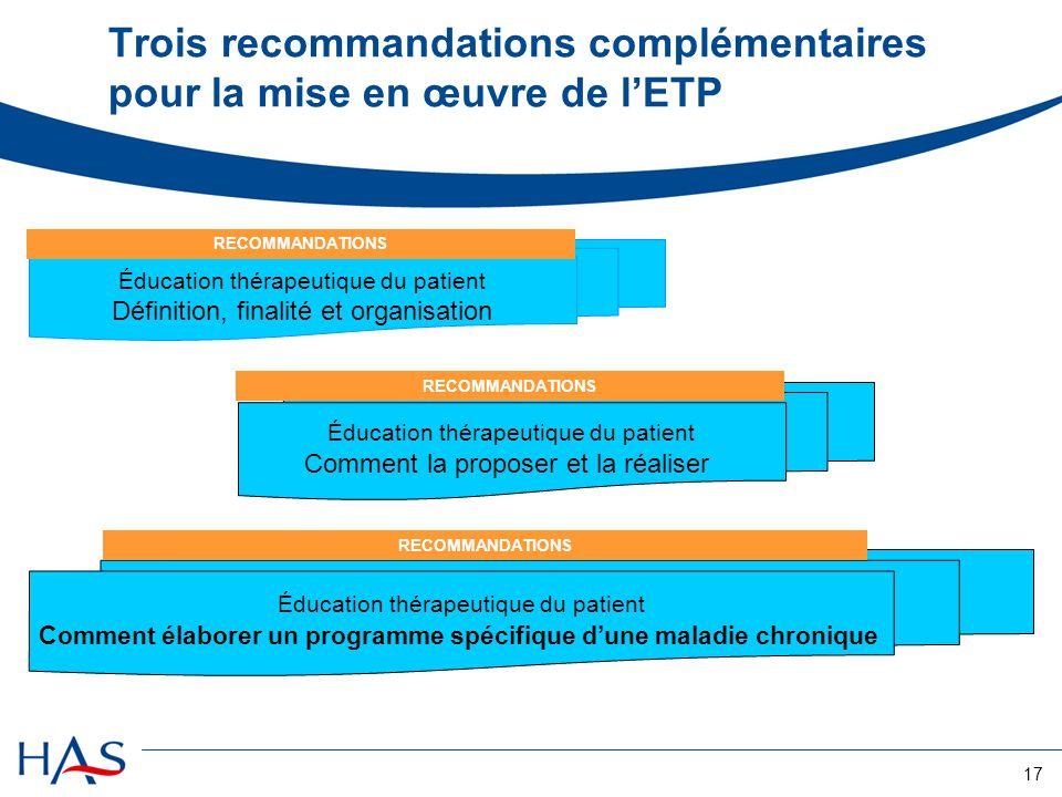 17 Trois recommandations complémentaires pour la mise en œuvre de lETP Éducation thérapeutique du patient Définition, finalité et organisation Éducati