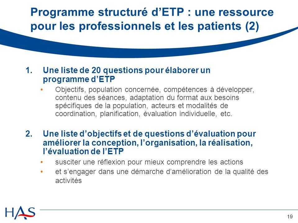 19 Programme structuré dETP : une ressource pour les professionnels et les patients (2) 1.Une liste de 20 questions pour élaborer un programme dETP Ob
