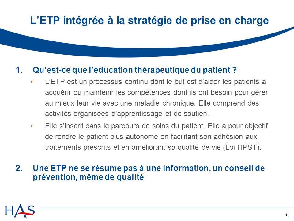 5 LETP intégrée à la stratégie de prise en charge 1.Quest-ce que léducation thérapeutique du patient ? LETP est un processus continu dont le but est d