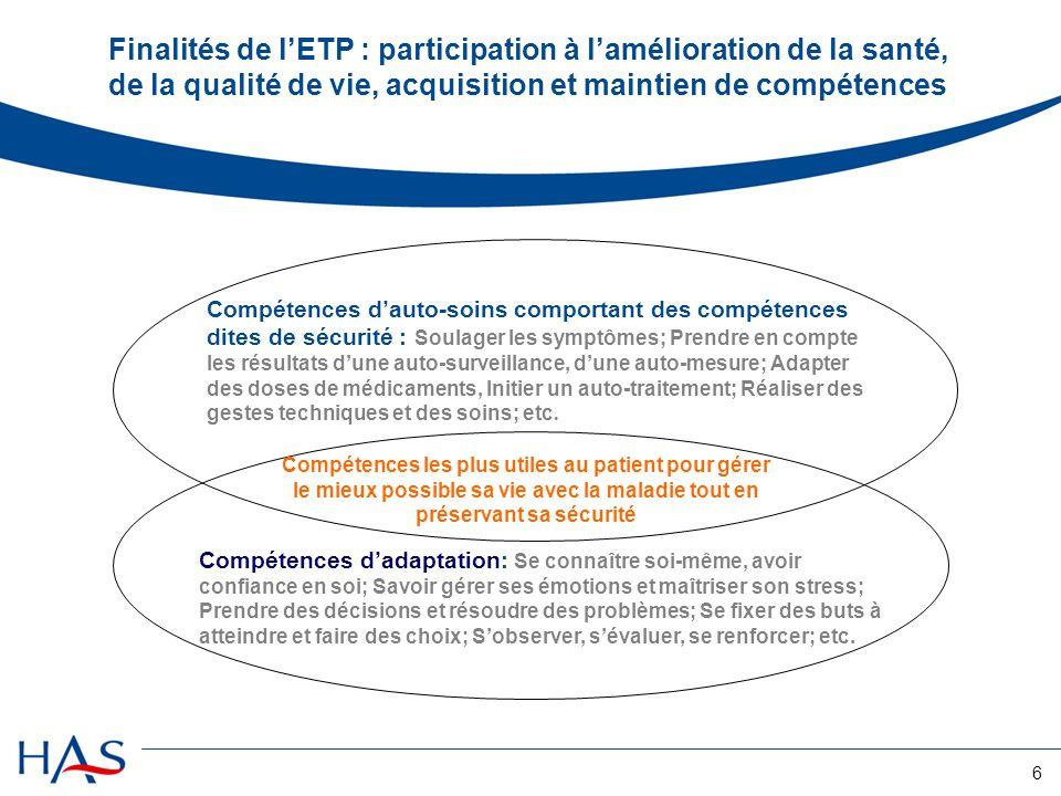 6 Finalités de lETP : participation à lamélioration de la santé, de la qualité de vie, acquisition et maintien de compétences Compétences dauto-soins
