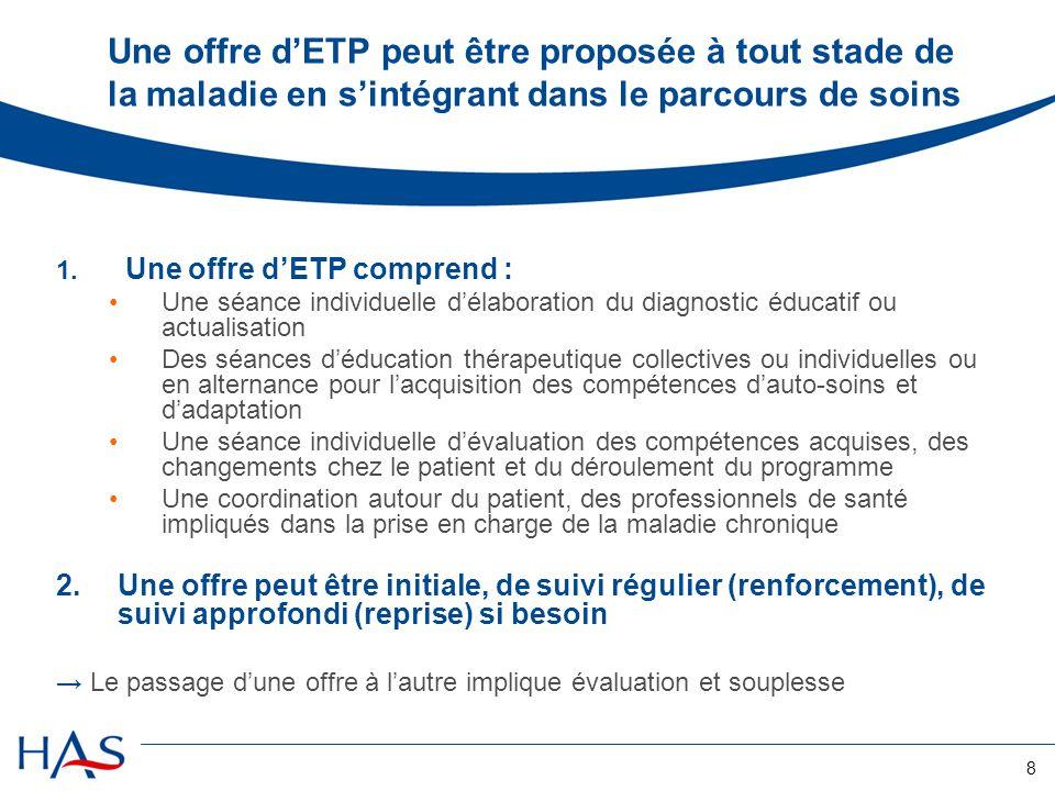 8 Une offre dETP peut être proposée à tout stade de la maladie en sintégrant dans le parcours de soins 1. Une offre dETP comprend : Une séance individ