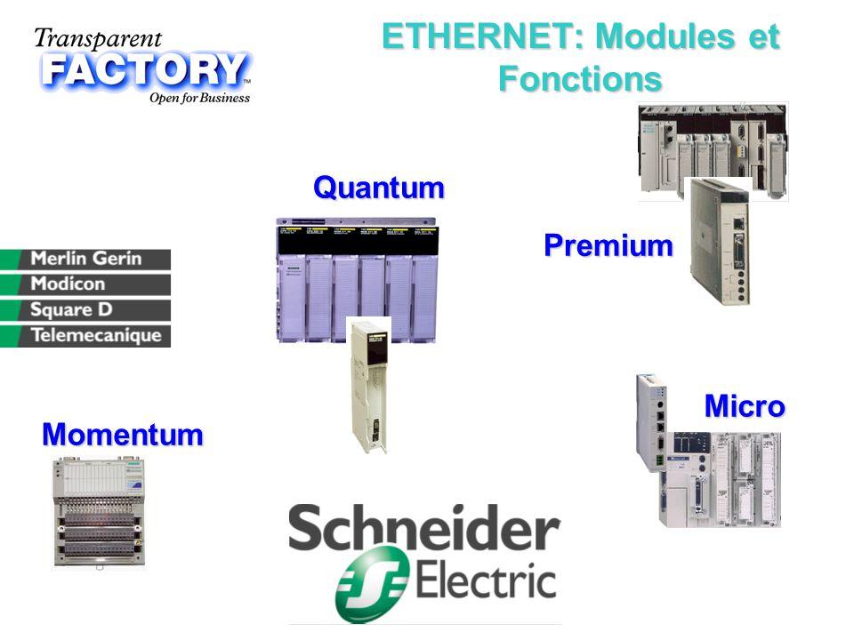 ETHERNET: Modules et Fonctions Quantum Quantum Micro Micro Premium Premium Momentum