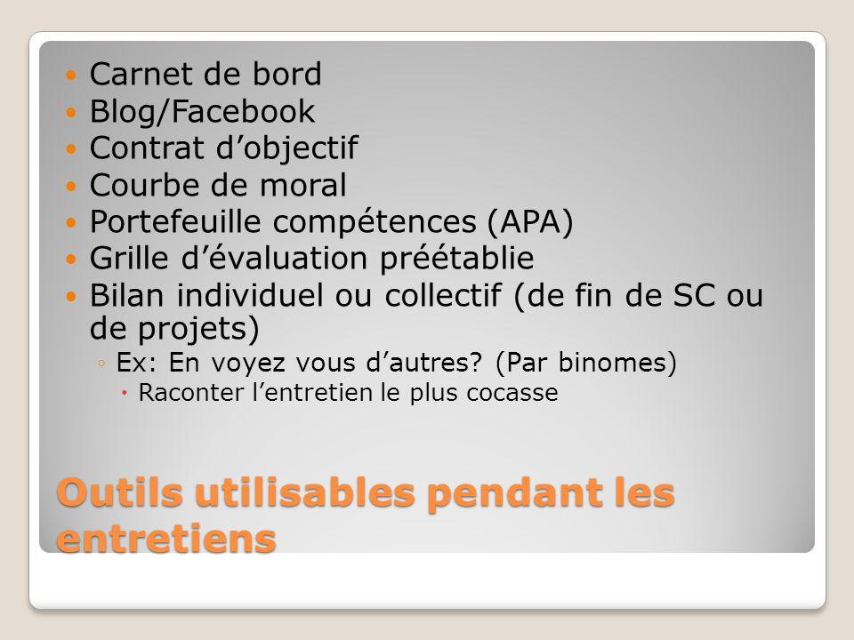 Outils utilisables pendant les entretiens Carnet de bord Blog/Facebook Contrat dobjectif Courbe de moral Portefeuille compétences (APA) Grille dévalua
