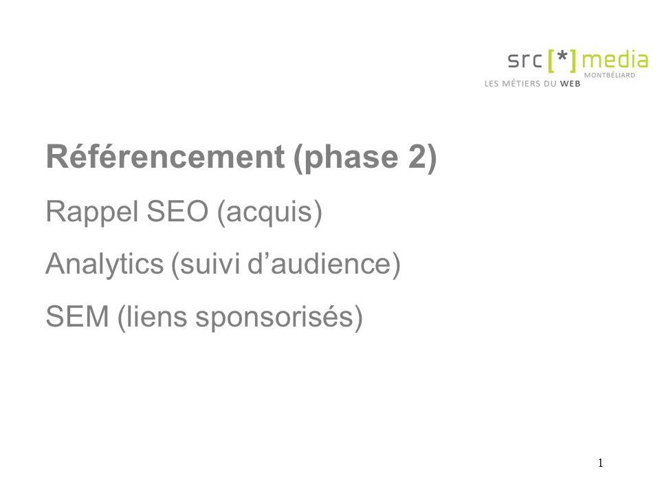 1 Référencement (phase 2) Rappel SEO (acquis) Analytics (suivi daudience) SEM (liens sponsorisés)