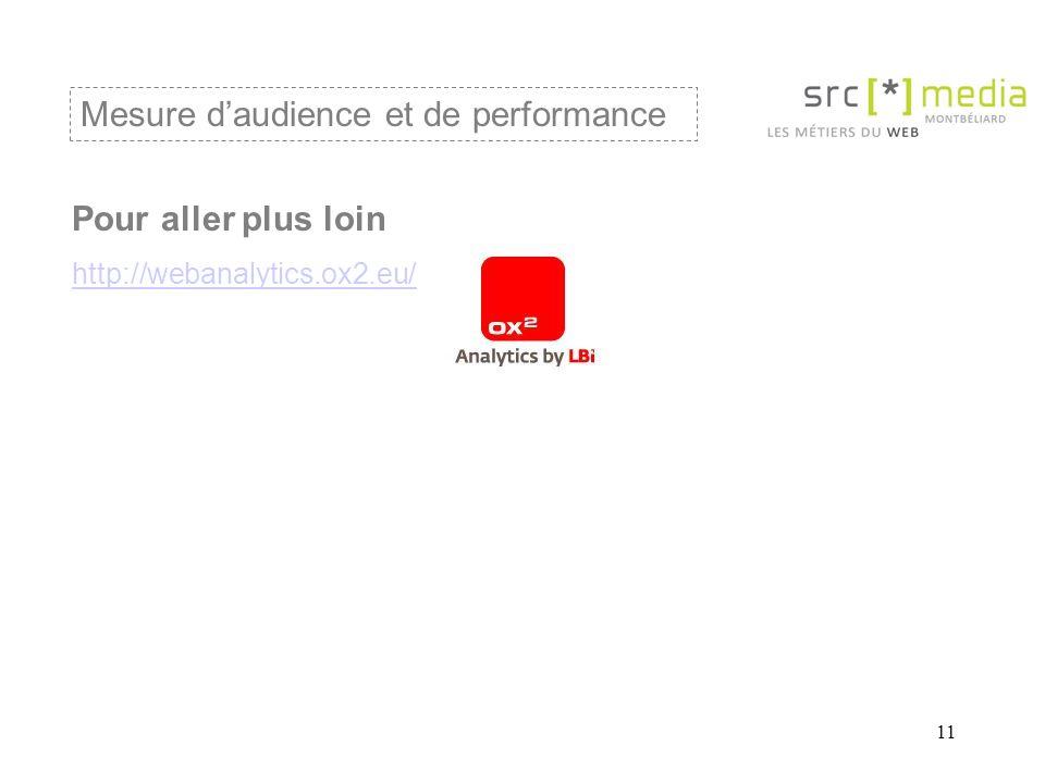 11 Mesure daudience et de performance Pour aller plus loin http://webanalytics.ox2.eu/