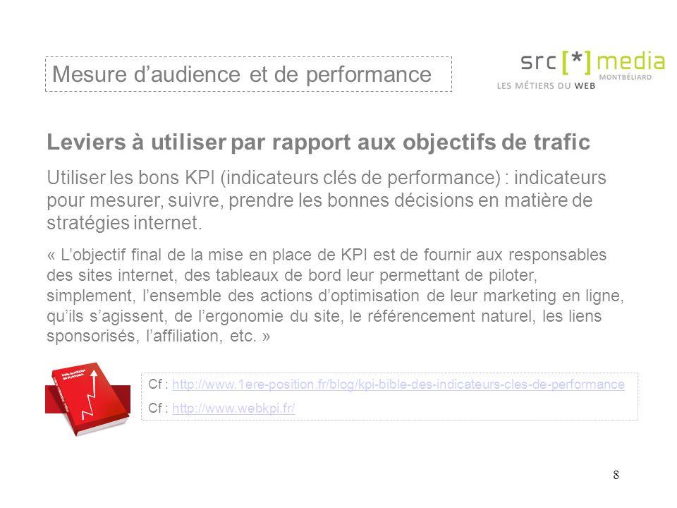 8 Mesure daudience et de performance Leviers à utiliser par rapport aux objectifs de trafic Utiliser les bons KPI (indicateurs clés de performance) : indicateurs pour mesurer, suivre, prendre les bonnes décisions en matière de stratégies internet.