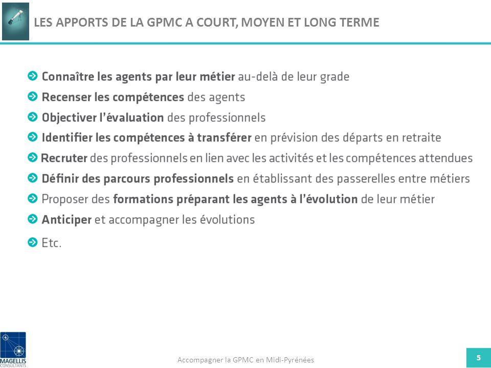 5 LES APPORTS DE LA GPMC A COURT, MOYEN ET LONG TERME Accompagner la GPMC en Midi-Pyrénées
