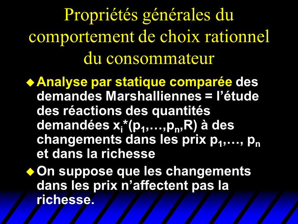 Propriétés générales du comportement de choix rationnel du consommateur u Analyse par statique comparée des demandes Marshalliennes = létude des réact