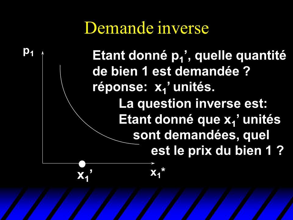 Demande inverse p1p1 x1*x1* x 1 Etant donné p 1, quelle quantité de bien 1 est demandée ? réponse: x 1 unités. La question inverse est: Etant donné qu