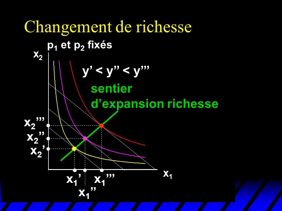 Changement de richesse p 1 et p 2 fixés y < y < y x 1 x 2 sentier dexpansion richesse