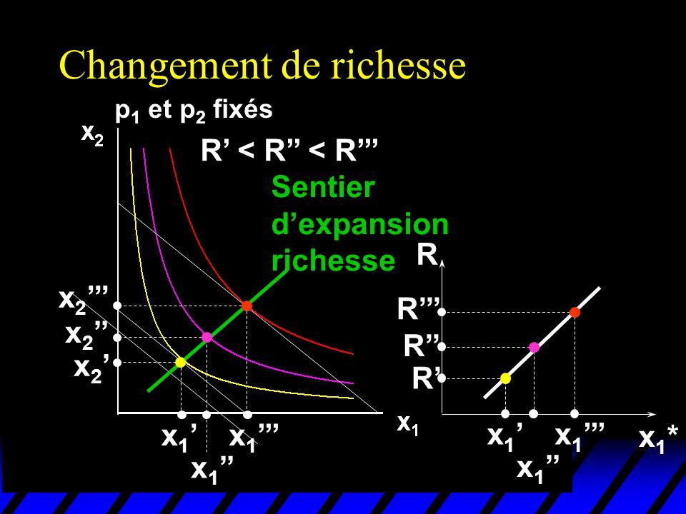 Changement de richesse p 1 et p 2 fixés R < R < R x 1 x 2 Sentier dexpansion richesse x1*x1* R x 1 R R R