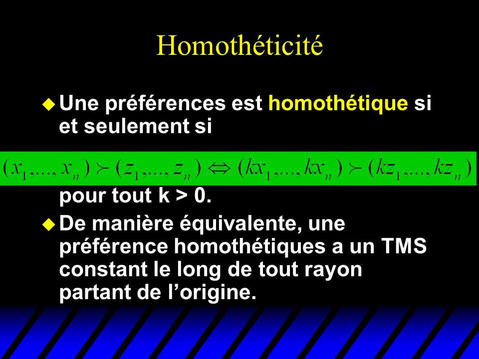 Homothéticité u Une préférences est homothétique si et seulement si pour tout k > 0. u De manière équivalente, une préférence homothétiques a un TMS c