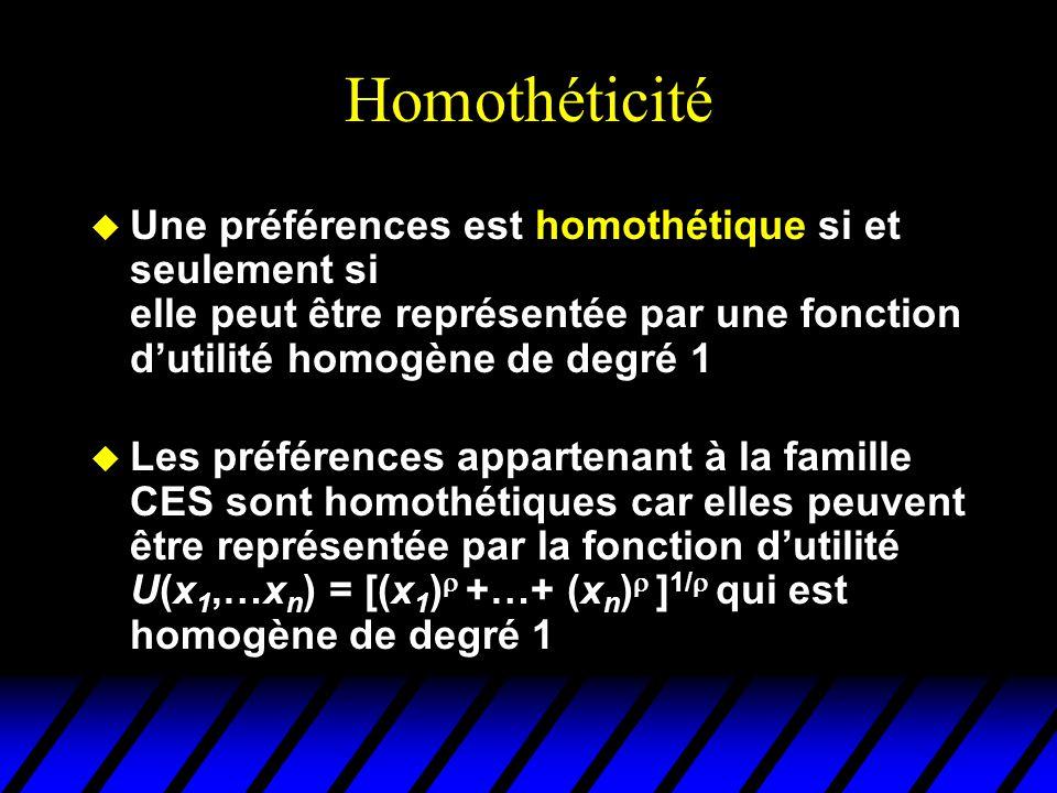 Homothéticité u Une préférences est homothétique si et seulement si elle peut être représentée par une fonction dutilité homogène de degré 1 u Les pré