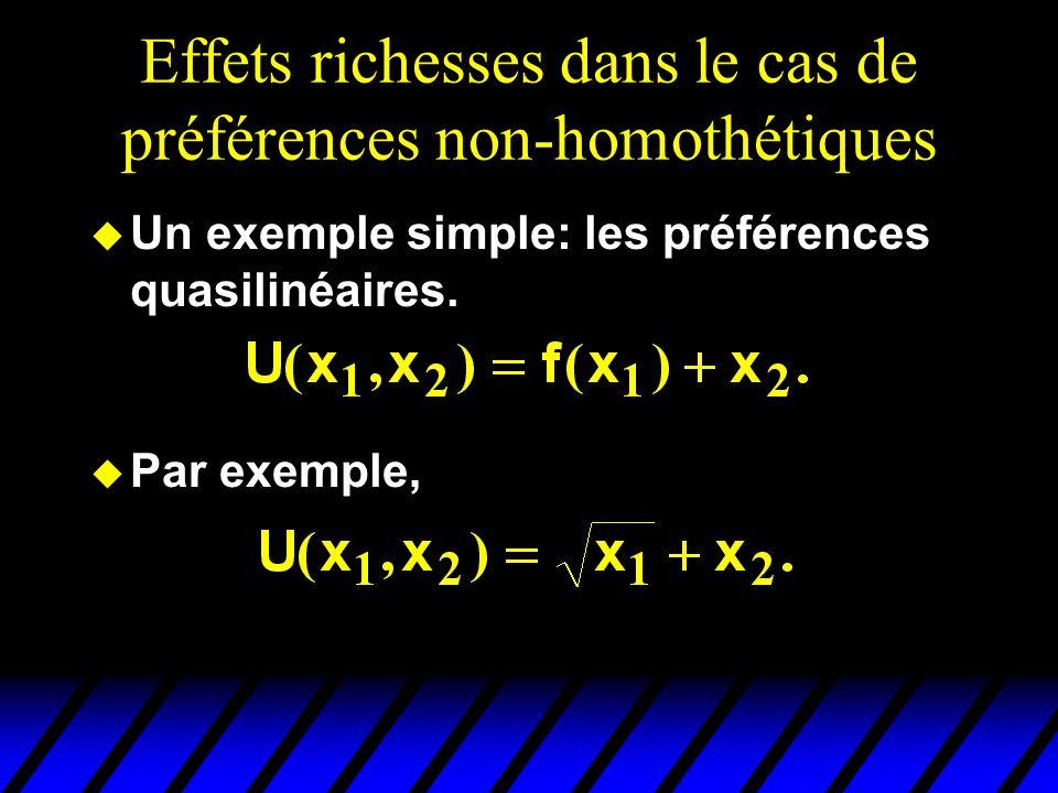 Effets richesses dans le cas de préférences non-homothétiques u Un exemple simple: les préférences quasilinéaires. u Par exemple,