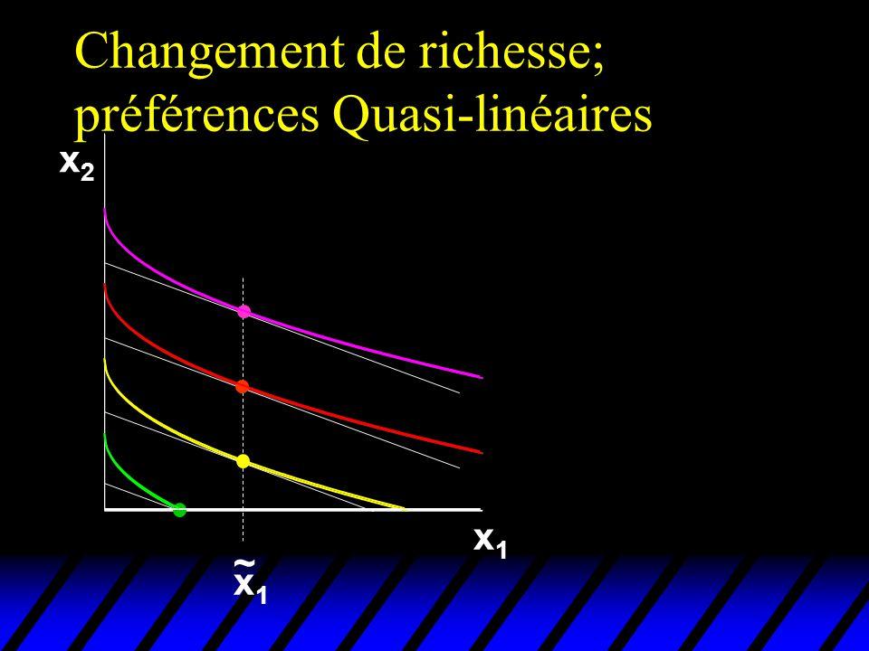 Changement de richesse; préférences Quasi-linéaires x2x2 x1x1 x1x1 ~