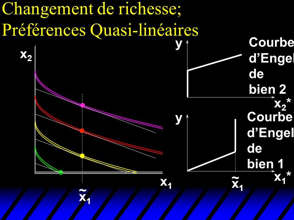 Changement de richesse; Préférences Quasi-linéaires x2x2 x1x1 x1x1 ~ x1*x1* x2*x2* y y x1x1 ~ Courbe dEngel de bien 2 Courbe dEngel de bien 1
