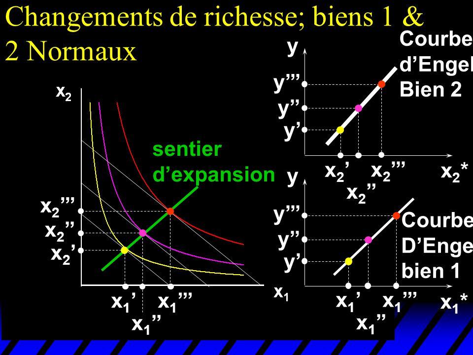 Changements de richesse; biens 1 & 2 Normaux x 1 x 2 sentier dexpansion x1*x1* x2*x2* y y x 1 x 2 y y y y y y Courbe dEngel; Bien 2 Courbe DEngel bien