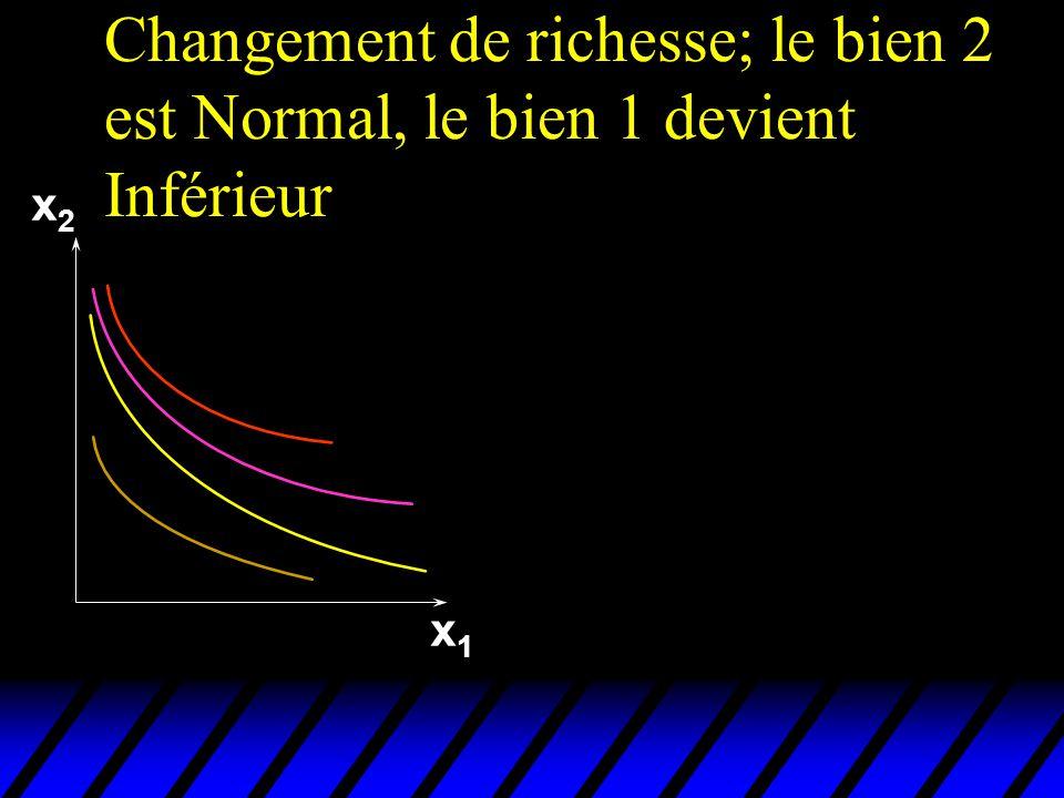 Changement de richesse; le bien 2 est Normal, le bien 1 devient Inférieur x2x2 x1x1
