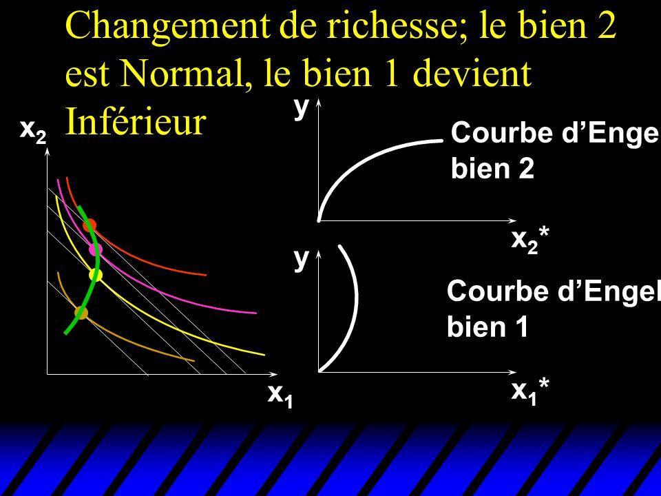 Changement de richesse; le bien 2 est Normal, le bien 1 devient Inférieur x2x2 x1x1 x1*x1* x2*x2* y y Courbe dEngel bien 2 Courbe dEngel bien 1
