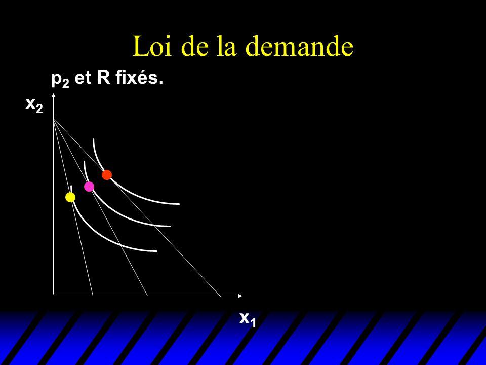 Loi de la demande p 2 et R fixés. x1x1 x2x2