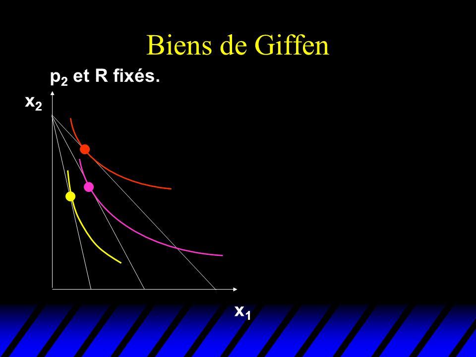 Biens de Giffen p 2 et R fixés. x1x1 x2x2
