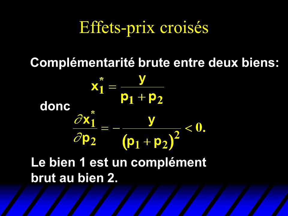 Effets-prix croisés Complémentarité brute entre deux biens: donc Le bien 1 est un complément brut au bien 2.