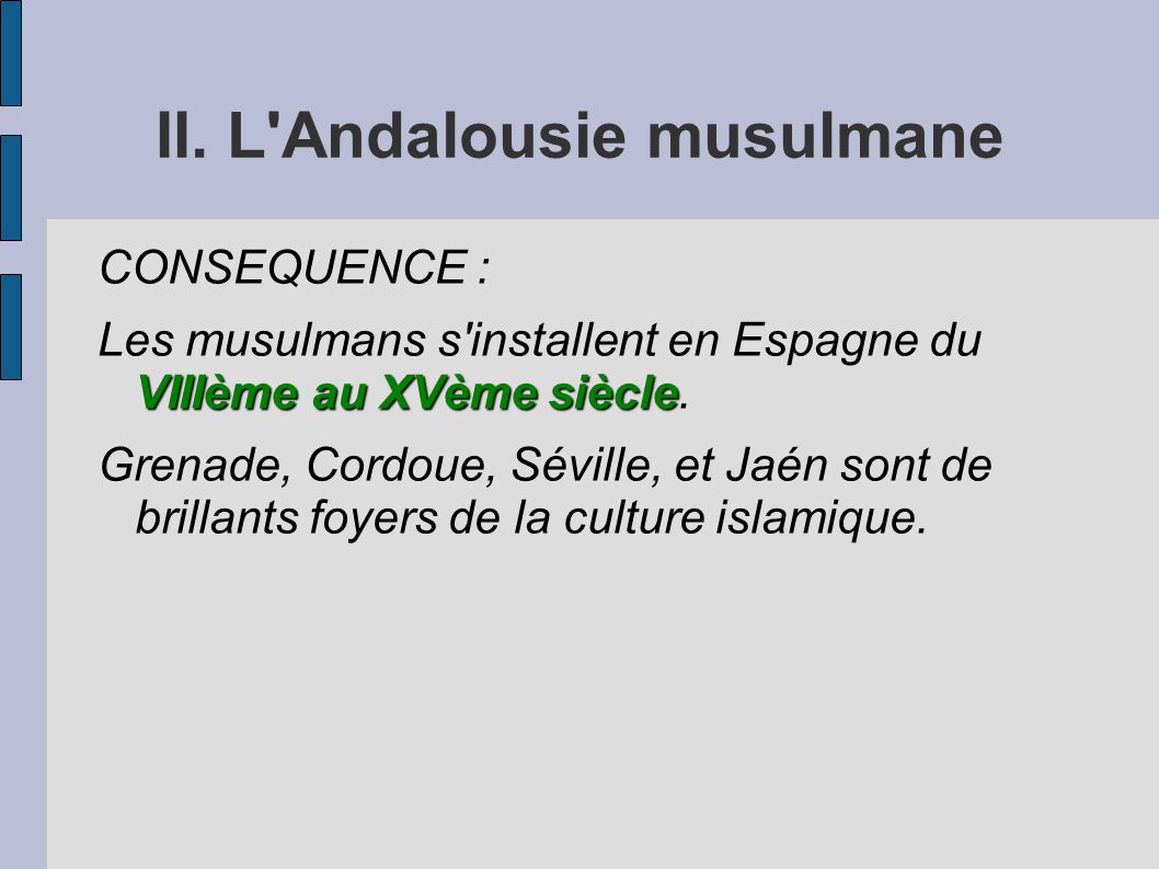 II. L'Andalousie musulmane CONSEQUENCE : VIIIème au XVème siècle Les musulmans s'installent en Espagne du VIIIème au XVème siècle. Grenade, Cordoue, S