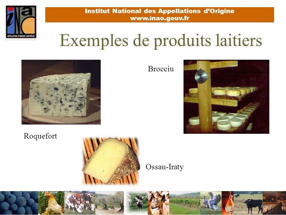 Institut National des Appellations dOrigine www.inao.gouv.fr Exemples de produits laitiers Brocciu Ossau-Iraty Roquefort