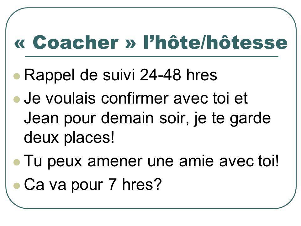 « Coacher » lhôte/hôtesse Rappel de suivi 24-48 hres Je voulais confirmer avec toi et Jean pour demain soir, je te garde deux places.