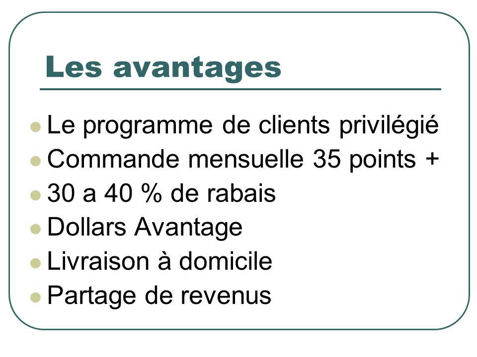 Les avantages Le programme de clients privilégié Commande mensuelle 35 points + 30 a 40 % de rabais Dollars Avantage Livraison à domicile Partage de revenus