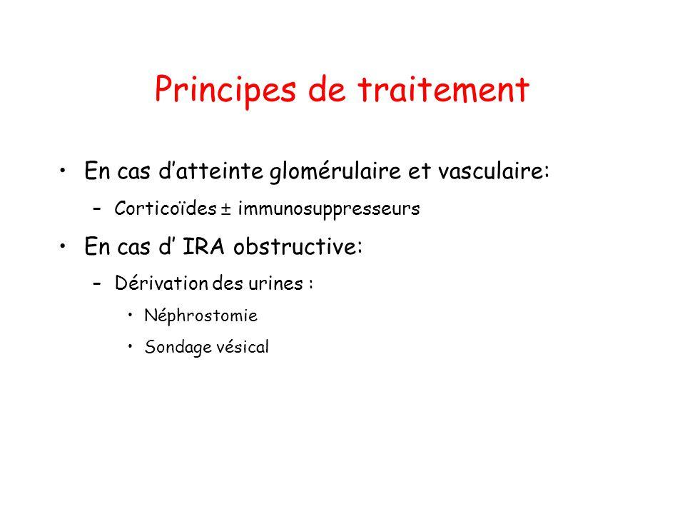 Principes de traitement En cas datteinte glomérulaire et vasculaire: –Corticoïdes ± immunosuppresseurs En cas d IRA obstructive: –Dérivation des urine