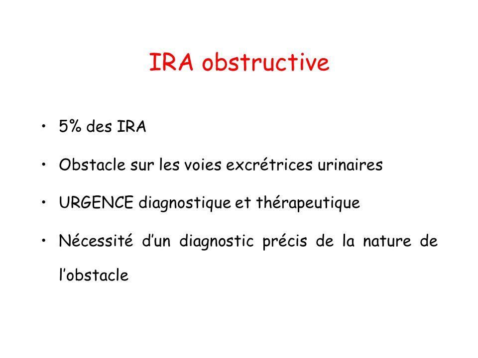IRA obstructive 5% des IRA Obstacle sur les voies excrétrices urinaires URGENCE diagnostique et thérapeutique Nécessité dun diagnostic précis de la na
