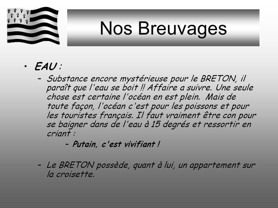 Nos BreuVages CIDRE : –Boisson issue de la fermentation de la pomme, donc très faiblement alcoolisée, et, de ce fait, peu populaire en BRETAGNE. La mé