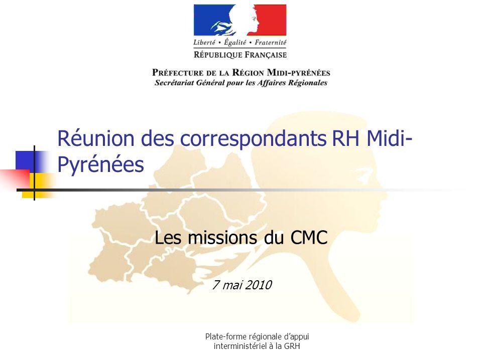 Plate-forme régionale dappui interministériel à la GRH Réunion des correspondants RH Midi- Pyrénées Les missions du CMC 7 mai 2010