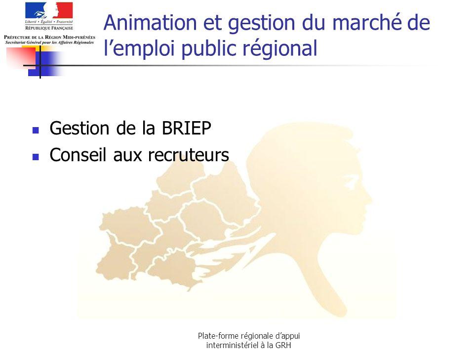Plate-forme régionale dappui interministériel à la GRH Animation et gestion du marché de lemploi public régional Gestion de la BRIEP Conseil aux recru