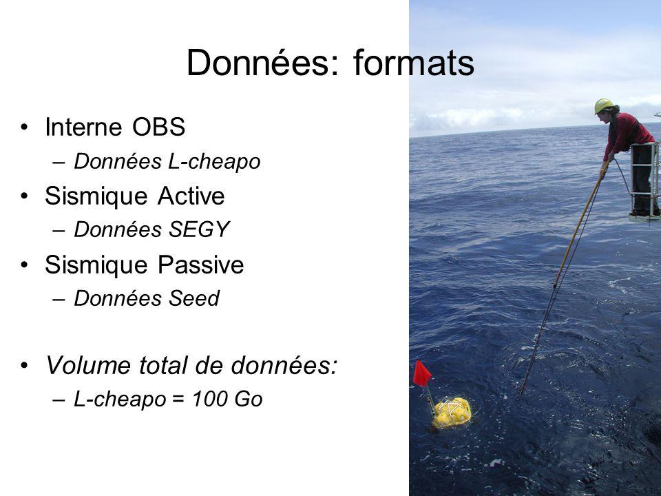 Données: formats Interne OBS –Données L-cheapo Sismique Active –Données SEGY Sismique Passive –Données Seed Volume total de données: –L-cheapo = 100 Go
