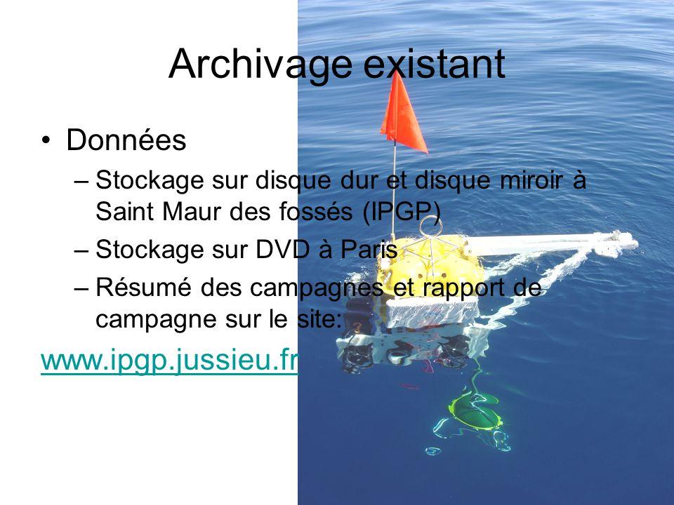 Archivage existant Données –Stockage sur disque dur et disque miroir à Saint Maur des fossés (IPGP) –Stockage sur DVD à Paris –Résumé des campagnes et rapport de campagne sur le site: www.ipgp.jussieu.fr