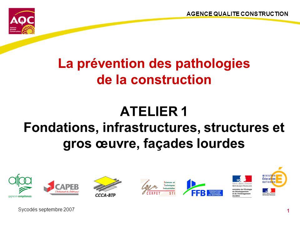 AGENCE QUALITE CONSTRUCTION 12 Sycodés septembre 2007 Les dallages sur terre plein