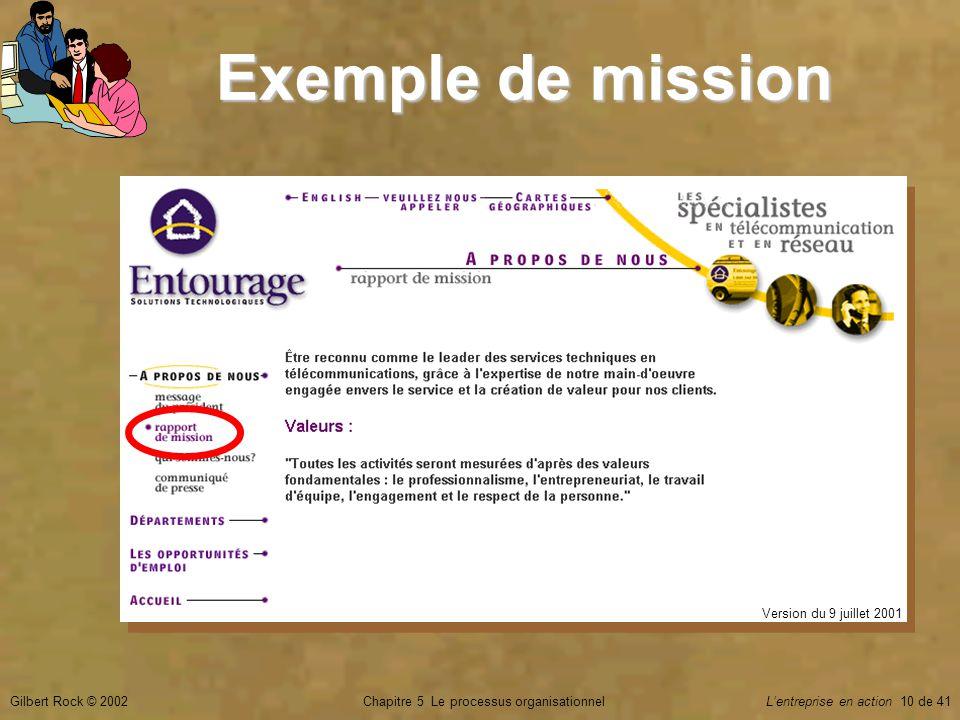 Chapitre 5 Le processus organisationnelGilbert Rock © 2002Lentreprise en action 10 de 41 Exemple de mission Version du 9 juillet 2001