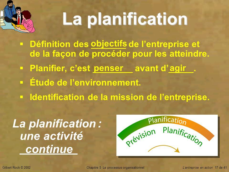 Chapitre 5 Le processus organisationnelGilbert Rock © 2002Lentreprise en action 17 de 41 La planification Définition des _______ de lentreprise et de