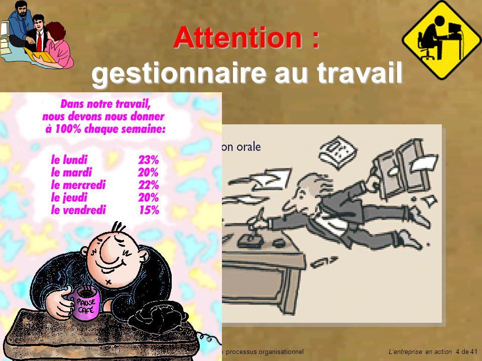 Chapitre 5 Le processus organisationnelGilbert Rock © 2002Lentreprise en action 4 de 41 Attention : gestionnaire au travail