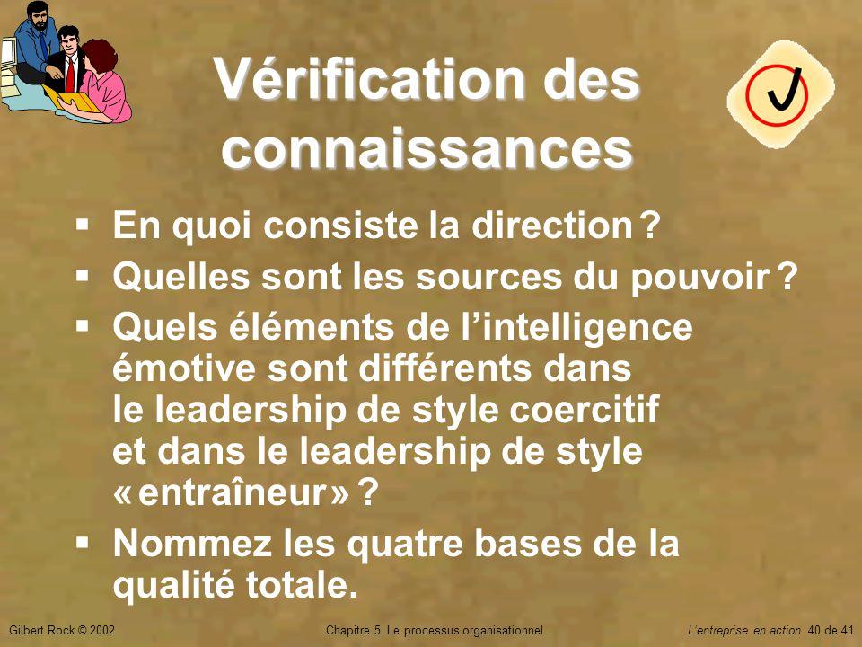 Chapitre 5 Le processus organisationnelGilbert Rock © 2002Lentreprise en action 40 de 41 Vérification des connaissances En quoi consiste la direction