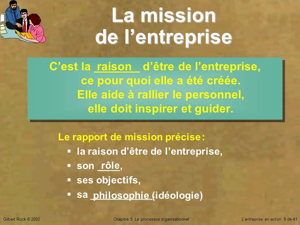 Chapitre 5 Le processus organisationnelGilbert Rock © 2002Lentreprise en action 9 de 41 La mission de lentreprise Cest la _______ dêtre de lentreprise