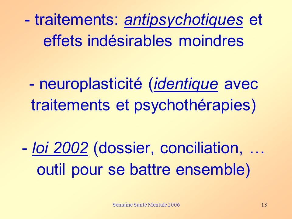 Semaine Santé Mentale 200613 - traitements: antipsychotiques et effets indésirables moindres - neuroplasticité (identique avec traitements et psychoth