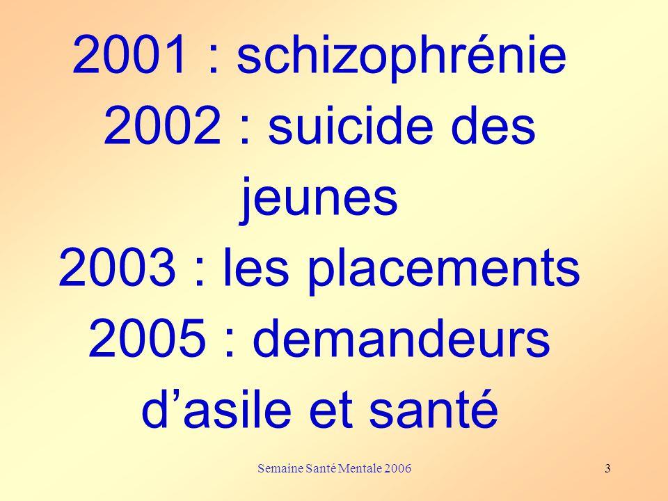 Semaine Santé Mentale 20063 2001 : schizophrénie 2002 : suicide des jeunes 2003 : les placements 2005 : demandeurs dasile et santé