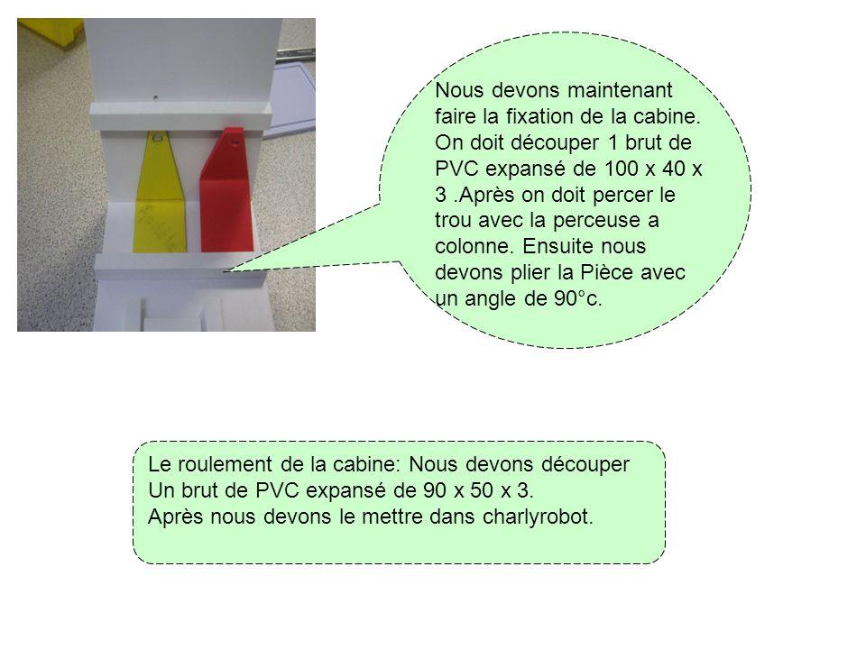 Nous allons vous expliquer comment faire un téléphérique: D abord on doit découper 2 bruts de PVC expansé de 73 x 65 x 3. Après on doit découper le Co