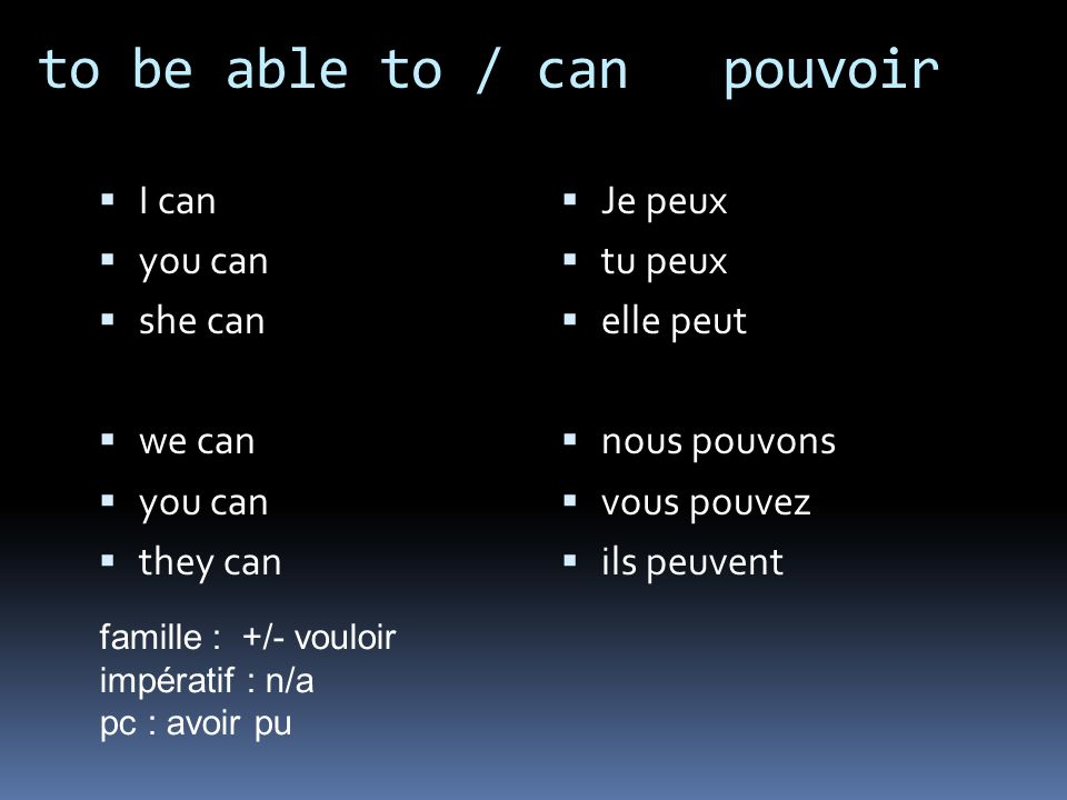 to be able to / can pouvoir I can you can she can we can you can they can Je peux tu peux elle peut nous pouvons vous pouvez ils peuvent famille : +/- vouloir impératif : n/a pc : avoir pu