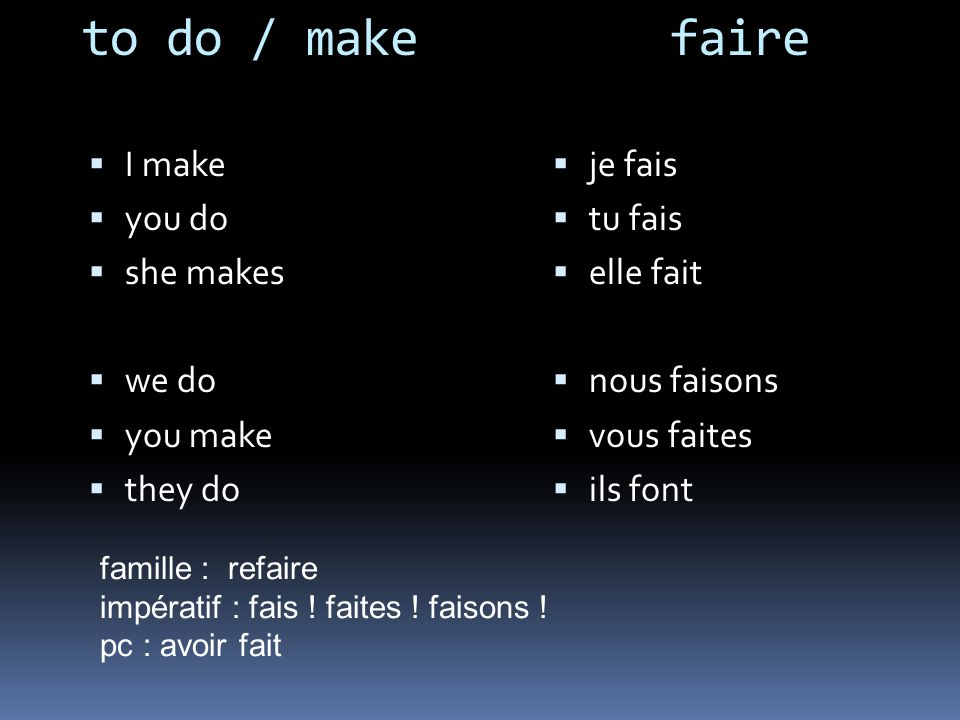 to do / make faire I make you do she makes we do you make they do je fais tu fais elle fait nous faisons vous faites ils font famille : refaire impératif : fais .