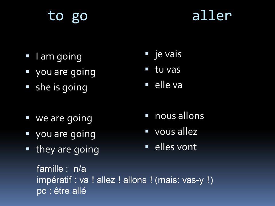 to go aller I am going you are going she is going we are going you are going they are going je vais tu vas elle va nous allons vous allez elles vont f