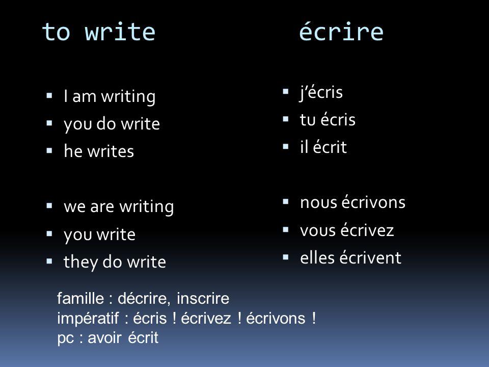 to write écrire I am writing you do write he writes we are writing you write they do write jécris tu écris il écrit nous écrivons vous écrivez elles écrivent famille : décrire, inscrire impératif : écris .